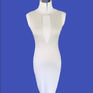 Cefian Cream Bodycon Sleeveless Mini Dress S M